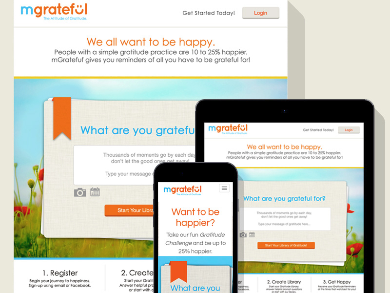 We created a sunny brand and  engaging interface for Mgrateful, a mobile gratittude journal.