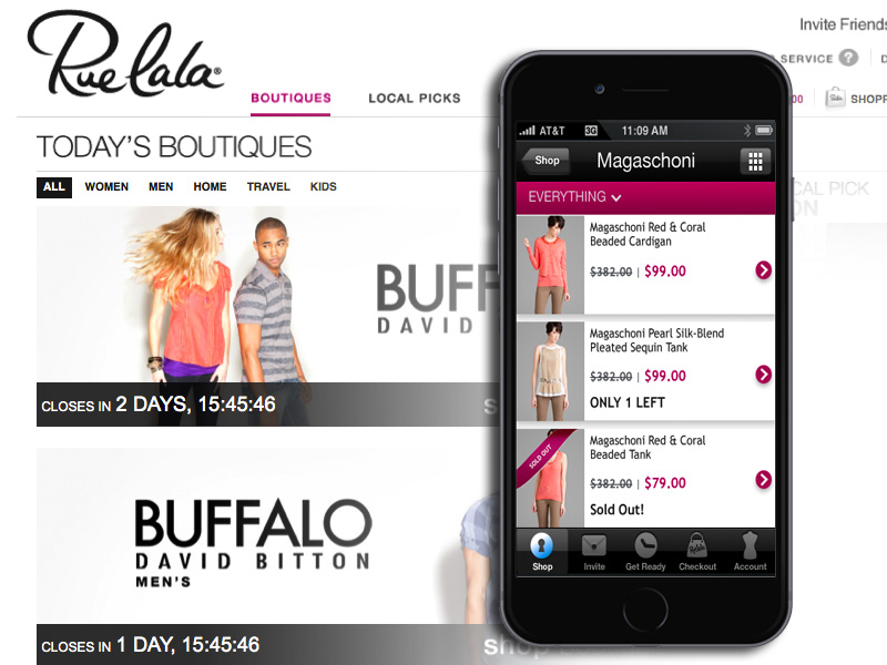 We creatively architechted and designed Rue LaLa's first mobile app. Haute!
