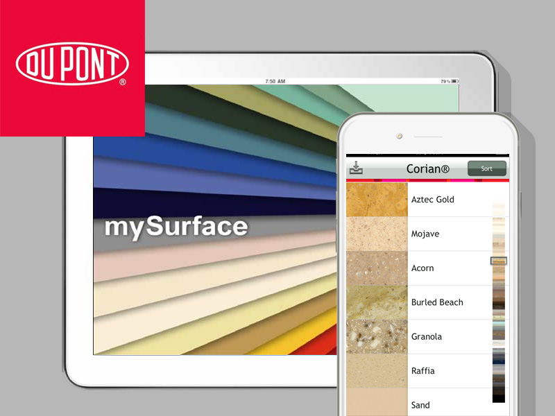 We architected and designed DuPont's MySurface app, a virtual swatchbook, for clients looking to replace their countertops.